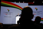 British Prime Minister Boris Johnson delivers a speech during the Opening Plenary session of the UK Africa Investment Summit in London, Monday, Jan. 20, 2020. Johnson is hosting African leaders, businesses and international institutions at the one-day summit in London. The event is taking place as Britain prepares for post-Brexit negotiations with countries around the world. (AP Photo/Matt Dunham, Pool)