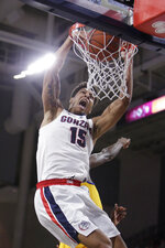Gonzaga forward Brandon Clarke dunks during the first half of the team's NCAA college basketball game against Cal State Bakersfield in Spokane, Wash., Monday, Dec. 31, 2018. (AP Photo/Young Kwak)