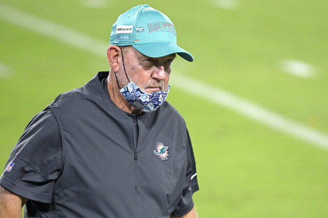 Miami Dolphins offensive coordinator Chan Gailey walks on the field before an NFL football game against the Jacksonville Jaguars, Thursday, Sept. 24, 2020, in Jacksonville, Fla. There are two Buffalo memories Dolphins offensive coordinator Chan Gailey would prefer not be brought up as Miami travels to face the Bills needing a win to clinch a playoff spot in the season finale on Sunday. The first is the teary-eyed speech Gailey provided upon being fired by the Bills following the 2012 season. The other was a 2015 loss to the Bills when he was the Jets coordinator. (AP Photo/Phelan M. Ebenhack)