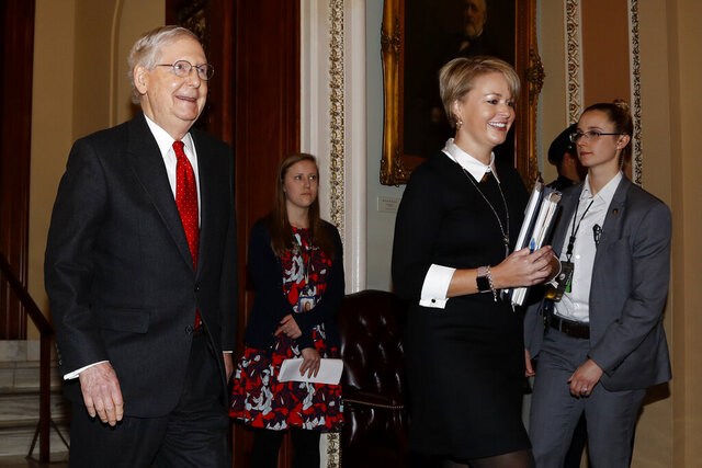 Senate Majority Leader Mitch McConnell, R-Ky., leaves the Senate at the Capitol in Washington, Tuesday, Jan. 21, 2020. President Donald Trump'simpeachment trialquickly burst into a partisan fight Tuesday as proceedings began unfolding at the Capitol. (AP Photo/Julio Cortez)