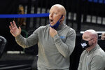 UCLA head coach Mick Cronin yells from the bench during the second half of an NCAA college basketball game against Oregon State Saturday, Jan. 30, 2021, in Los Angeles. (AP Photo/Marcio Jose Sanchez)