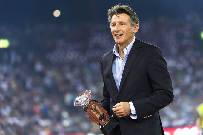 "FILE - In this Thursday, Aug. 29, 2019 file photo, IAAF President British Lord Sebastian Coe at the award ceremony during the Weltklasse IAAF Diamond League international athletics meeting in the stadium Letzigrund in Zurich, Switzerland. The Diamond League will hold its season opener in Britain for the first time with Gateshead replacing Rabat as the 2021 campaign's first host city, it was announced Friday, April 16, 2021. Diamond League chairman Sebastian Coe says it's an ""incredibly important year"" with track-and-field athletes preparing for this summer's Tokyo Olympics as well as next year's World Athletics Championships in Oregon. (Jean-Christophe Bott/Keystone via AP, file)"
