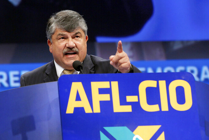 FILE - In this Sept. 9, 2013 file photo, Richard Trumka, American Federation of Labor and Congress of Industrial Organizations president, addresses members during the quadrennial AFL-CIO convention at Los Angeles Convention Center in Los Angeles. The longtime president of the AFL-CIO labor union has died. News of Richard Trumka's death was announced Thursday by President Joe Biden and Senate Majority Leader Chuck Schumer. Trumka was 72 and had been AFL-CIO president since 2009, after serving as the organization's secretary-treasurer for 14 years. (AP Photo/Nick Ut)