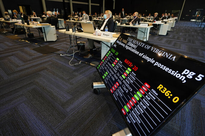 A vote tally board displays the vote on a bill legalizing marjiuana during the Senate reconvene session at the Science Museum of Virginia in Richmond, Va., Wednesday, April 7, 2021. (AP Photo/Steve Helber)