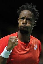 Gael Monfils of France clenches his fist after scoring a point against Stan Wawrinka of Switzerland in the men's singles final of the ABN AMRO world tennis tournament at Ahoy Arena in Rotterdam, Netherlands, Sunday, Feb. 17, 2019. (AP Photo/Peter Dejong)