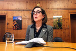 FILE - In this Monday, July 1, 2019, file photo, Oregon Gov. Kate Brown speaks with the media at the Capitol in Salem, Ore. When Democrats won a supermajority in the Oregon Legislature in the 2018 election, the party was excited. But now Democrats know the limits of that power after Republican senators staged a dramatic nine-day boycott that ended up killing major climate change legislation. (AP Photo/Sarah Zimmerman, File)