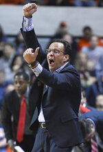 Georgia head coach Tom Crean reacts to a call during the first half of an NCAA college basketball game against Auburn Saturday, Jan. 12, 2019, in Auburn, Ala. (AP Photo/Julie Bennett)
