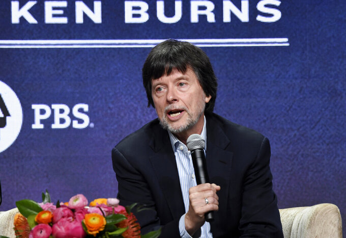 """FILE - Ken Burns, director of the PBS documentary series """"Country Music,"""" speaks in a panel discussion during the Television Critics Association Summer Press Tour on July 29, 2019, in Beverly Hills, Calif. Burns says he has eight new projects in the works, including deep-dive looks at Benjamin Franklin, Muhammad Ali, Leonard da Vinci and Ernest Hemingway. PBS announced a new online home for all the work of Burns and other documentarians, a subscription streaming service that will start next month. Besides Burns' library, the service will also have work from """"NOVA"""" and """"Frontline. (Photo by Chris Pizzello/Invision/AP, File)"""