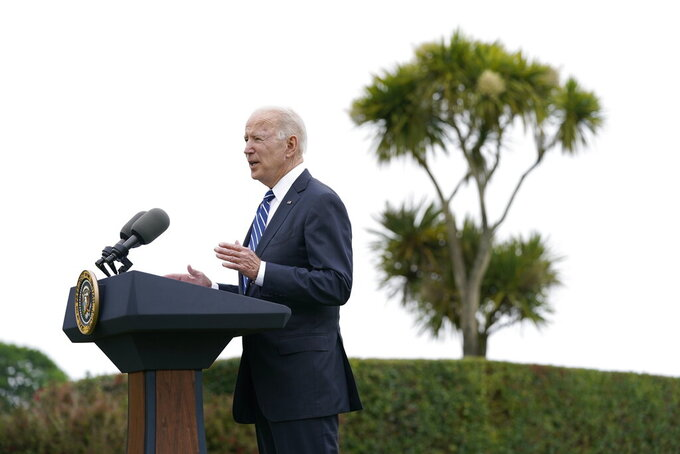 President Joe Biden speaks about his administration's global COVID-19 vaccination efforts ahead of the G-7 summit, Thursday, June 10, 2021, in St. Ives, England. (AP Photo/Patrick Semansky)