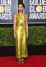Gugu Mbatha-Raw arrives at the 77th annual Golden Globe Awards at the Beverly Hilton Hotel on Sunday, Jan. 5, 2020, in Beverly Hills, Calif. (Photo by Jordan Strauss/Invision/AP)