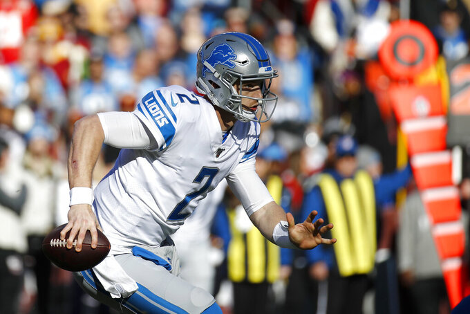 Detroit Lions quarterback Jeff Driskel scrambles against the Washington Redskins during the first half of an NFL football game, Sunday, Nov. 24, 2019, in Landover, Md. (AP Photo/Patrick Semansky)
