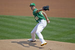 Oakland Athletics pitcher Chris Bassitt works against the Los Angeles Angels in the first inning of a baseball game Saturday, Aug. 22, 2020, in Oakland, Calif. (AP Photo/Ben Margot)