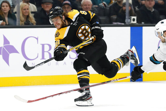 "FILE - In this Oct. 29, 2019, file photo, Boston Bruins' David Pastrnak shoots during the second period of an NHL hockey game against the San Jose Sharks in Boston. Washington's Alex Ovechkin and Boston's David Pastrnak share the Maurice ""Rocket"" Richard Trophy the league announced Thursday, May 28, 2020. (AP Photo/Winslow Townson, File)"