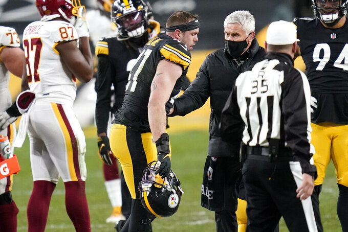 Pittsburgh Steelers inside linebacker Robert Spillane (41) walks off the field after being injured on a play during the second half of an NFL football game against the Washington Football Team, Monday, Dec. 7, 2020, in Pittsburgh. (AP Photo/Keith Srakocic)