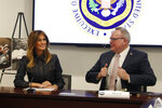 First Lady Melania Trump participates in a policy briefing at the Office of National Drug Control Policy, Thursday, Feb. 7, 2019, in Washington, next to director Jim Carroll. (AP Photo/Jacquelyn Martin)