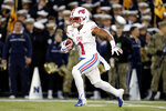 SMU's CJ Sanders returns a kickoff from Navy for a touchdown during the first half of an NCAA college football game, Saturday, Nov. 23, 2019, in Annapolis, Md. (AP Photo/Julio Cortez)
