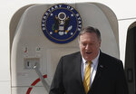 U.S. Secretary of State Mike Pompeo exits his plane as he arrives at Rafik Hariri international airport, in Beirut, Lebanon, Friday, March 22, 2019. Pompeo is in Beirut for a two day visit to meet with Lebanese officials. (AP Photo/Hussein Malla)