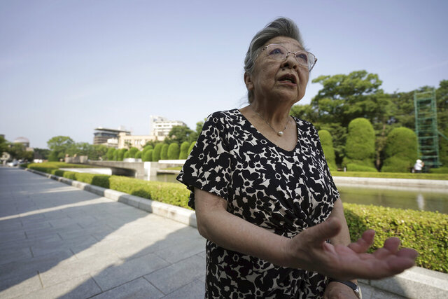 "Koko Kondo speaks during an interview with The Associated Press  near Hiroshima Peace Memorial Museum in Hiroshima, western Japan, Wednesday, Aug. 5, 2020. Kondo was determined to find the person who dropped the atomic bomb on Hiroshima, western Japan, the person that caused the suffering and the terrible facial burns of the girls at her father's church - and then square off and punch them in the face. Ten-year-old Kondo appeared on an American TV show called ""This is Your Life"" that was featuring her father, Rev. Kiyoshi Tanimoto, one of six survivors profiled in John Hersey's book ""Hiroshima."" Kondo stared in hatred at another guest: Capt. Robert Lewis, co-pilot of B-29 bomber Enola Gay that dropped the bomb. (AP Photo/Eugene Hoshiko)"