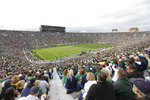 FILE - Notre Dame Stadium is shown during the second half of an NCAA college football game between Notre Dame and Michigan State in South Bend, Ind., Saturday, Sept. 21, 2013. What is most commonly referred to as major college football (aka NCAA Division I Bowl Subdivision or FBS) is compromised of 130 teams and 10 conferences. Seventy-seven of those teams are scheduled to play throughout the fall, starting at various times in September. The other 53, including the entire Big Ten and Pac-12, have postponed their seasons and are hoping to make them up later. That means no No. 2 Ohio State, No. 7 Penn State, No. 9 Oregon and six other teams that were ranked in the preseason AP Top 25. (AP Photo/Michael Conroy)