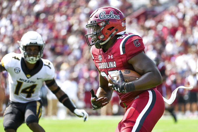 South Carolina tight end Kiel Pollard (87) runs with the ball against Missouri during the first half of an NCAA college football game Saturday, Oct. 6, 2018, in Columbia, S.C. (AP Photo/Sean Rayford)