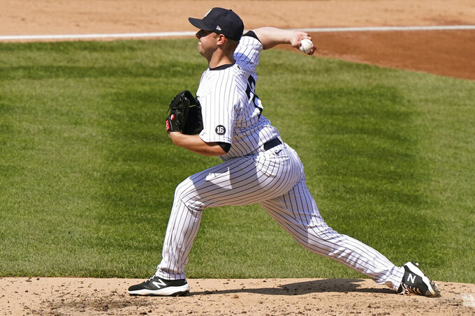 New York Yankees relief pitcher Michael King throws during the fourth inning of the team's baseball game against the Toronto Blue Jays, Sunday, April 4, 2021, at Yankee Stadium in New York. King allowed only one hit in six innings after he came into the game in relief for starting pitcher Domingo Germán. (AP Photo/Kathy Willens)