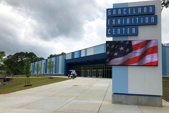 A new exhibition hall at the Graceland tourist attraction will house three new exhibits, including one about the life and career of boxing great Muhammad Ali. Photo taken on Wednesday, May 22, 2019 in Memphis, Tenn. (AP Photo/Adrian Sainz)