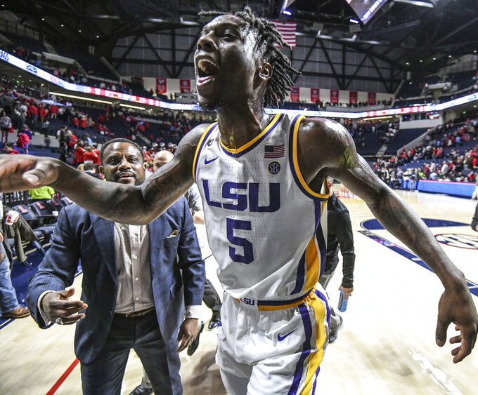 LSU forward Emmitt Williams (5) celebrates a win over Mississippi in an NCAA college basketball game in Oxford, Miss., Saturday, Jan. 18, 2020. (Bruce Newman/The Oxford Eagle via AP)