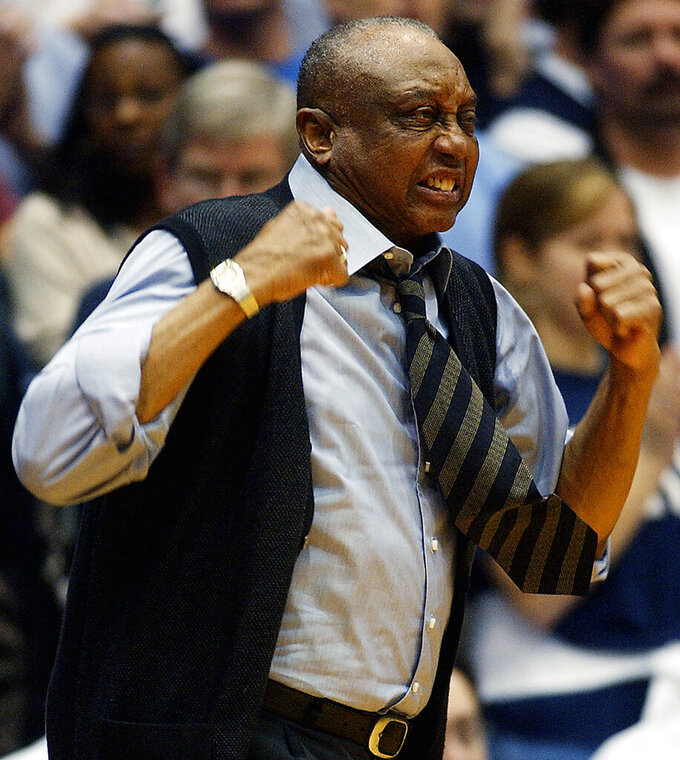 FILE - Temple head coach John Chaney reacts to a foul call in the first half of an NCAA college basketball game against Duke in Durham, N.C., in this Jan. 8, 2005, file photo. John Chaney, one of the nation's leading Black coaches and a commanding figure during a Hall of Fame basketball career at Temple, has died. He was 89. His death was announced by the university Friday, Jan. 29, 2021.(AP Photo/Sara D. Davis, File)