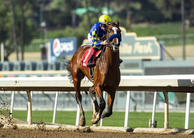 In a photo provided by Benoit Photo, Authentic and jockey Drayden Van Dyke win the Grade III, $100,000 Sham Stakes, Saturday, Jan. 4, 2020, at Santa Anita Park, in Arcadia, Calif. (Benoit Photo via AP)