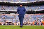 Denver Broncos head coach Vic Fangio watches his players prior to an NFL football game against the Detroit Lions, Sunday, Dec. 22, 2019, in Denver. (AP Photo/Jack Dempsey)