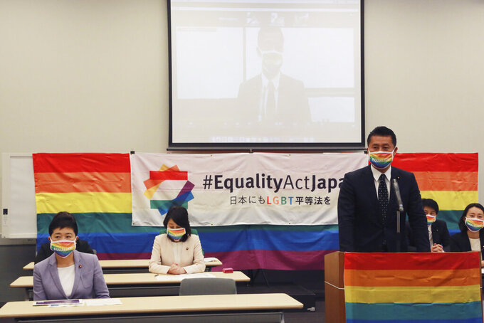 "Japanese lawmaker Goshi Hosono speaks during a meeting of ""LGBT Equality Law"" in Tokyo, Tuesday, April 27, 2021. (AP Photo/Koji Sasahara)"
