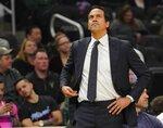 Miami Heat head coach Erik Spoelstra reacts during the first half of an NBA basketball game against the Milwaukee Bucks Tuesday, Jan. 15, 2019, in Milwaukee. (AP Photo/Morry Gash)