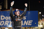 Sheldon Creed celebrates after winning a NASCAR truck series auto race at World Wide Technology Raceway Friday, Aug. 20, 2021, in Madison, Ill. (AP Photo/Jeff Roberson)