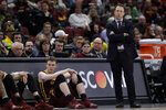 Minnesota head coach Richard Pitino watches during the second half of an NCAA college basketball game against Michigan in the semifinals of the Big Ten Conference tournament, Saturday, March 16, 2019, in Chicago. (AP Photo/Nam Y. Huh)