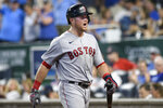 Boston Red Sox's Christian Arroyo is thrown out of a baseball game for arguing with the umpire after being called out on strikes during the ninth inning against the Kansas City Royals in Kansas City, Mo., Friday, June 18, 2021. (AP Photo/Reed Hoffmann)