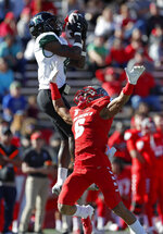 Hawaii wide receiver JoJo Ward (9) makes a catch against New Mexico cornerback De'John Rogers (6) during the first half of an NCAA college football game on Saturday, Oct. 26, 2019, in Albuquerque, N.M. (AP Photo/Andres Leighton)