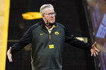 Iowa head coach Fran McCaffery reacts to a call during the second half of an NCAA college basketball game against Minnesota, Sunday, Jan. 10, 2021, in Iowa City, Iowa. Iowa won 86-71. (AP Photo/Charlie Neibergall)