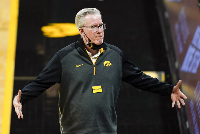 Iowa head coach Fran McCaffery reacts to a call during the second half of an NCAA college basketball game against Minnesota, Sunday, Jan. 10, 2021, in Iowa City, Iowa. Iowa won 86-71. (AP Photo/Charlie Neibergall)