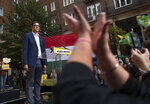 Budapest mayor Gergely Karacsony, one of the frontrunners in a race to unseat Hungary's Prime Minister Viktor Orban holding a campaign event in Budapestt, Hungary on Sept. 17, 2021. The rally marked the start of a primary election that will choose a joint opposition candidate to face off with Hungary's hardline leader in polls next year. (AP Photo/Bela Szandelszky)