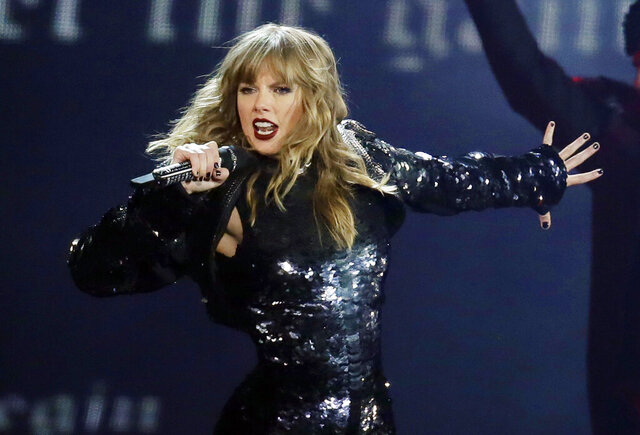 FILE - This May 8, 2018 file photo shows Taylor Swift performing during her