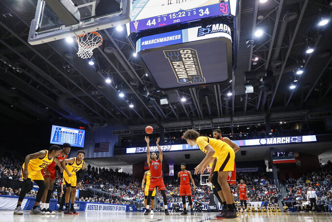St. John's Justin Simon (5) shoots a free throw during the second half of a First Four game of the NCAA men's college basketball tournament against Arizona State, Wednesday, March 20, 2019, in Dayton, Ohio. (AP Photo/John Minchillo)