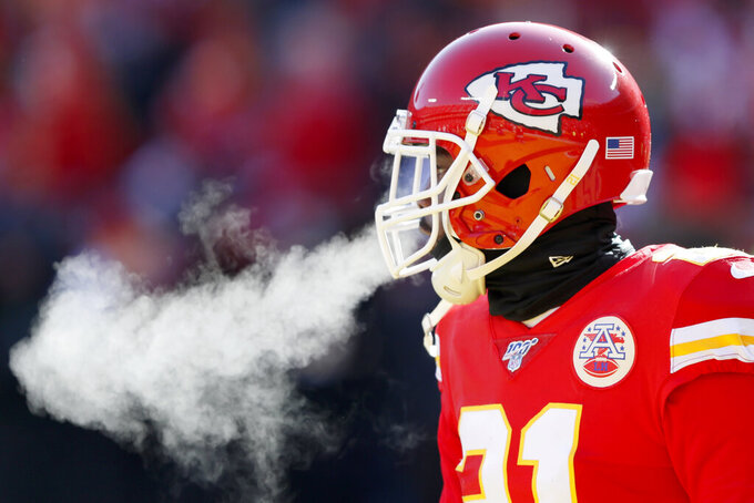 Kansas City Chiefs' Bashaud Breeland warms up before the NFL AFC Championship football game against the Tennessee Titans Sunday, Jan. 19, 2020, in Kansas City, MO. (AP Photo/Charlie Neibergall)