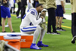 FILE - In this Nov. 21, 2019, file photo, Indianapolis Colts tight end Eric Ebron (85) sits on the side lines during the final moments of the second half of an NFL football game against the Houston Texans in Houston. Ebron is embracing a fresh start in Pittsburgh after an ugly divorce with the Indianapolis Colts. The Steelers signed Ebron to a two-year contract last week. (AP Photo/Mike Marshall, File)