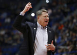 Old Dominion head coach Jeff Jones reacts on the bench during the first half of a first round men's college basketball game against Purdue in the NCAA Tournament, Thursday, March 21, 2019, in Hartford, Conn. (AP Photo/Elise Amendola)