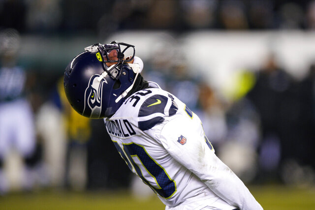 Seattle Seahawks' Bradley McDougald reacts after tackling Philadelphia Eagles' Boston Scott during the second half of an NFL wild-card playoff football game, Sunday, Jan. 5, 2020, in Philadelphia. (AP Photo/Chris Szagola)