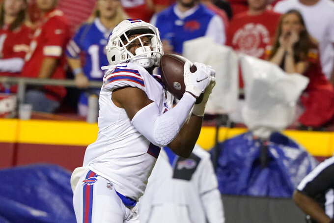 Buffalo Bills wide receiver Emmanuel Sanders catches a touchdown pass during the first half of an NFL football game against the Kansas City Chiefs Sunday, Oct. 10, 2021, in Kansas City, Mo. (AP Photo/Ed Zurga)