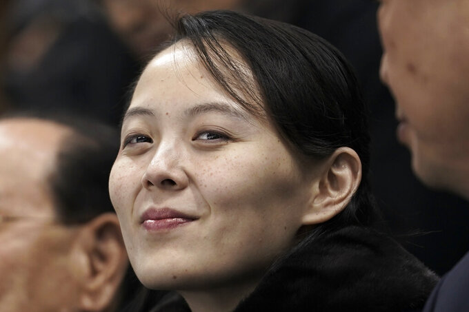 """FILE - In this Feb. 10, 2018, file photo, Kim Yo Jong, sister of North Korean leader Kim Jong Un, waits for the start of the preliminary round of the women's hockey game between Switzerland and the combined Koreas at the 2018 Winter Olympics in Gangneung, South Korea. The powerful sister dismissed prospects for early resumption of diplomacy with the United States, saying the U.S. expectations for talks would """"plunge them into a greater disappointment."""" Kim made the comments Tuesday, June 22, 2021 after U.S. National Security adviser Jake Sullivan described as """"interesting signals"""" Kim Jong Un's recent statement that North Korea will be ready for both dialogue and confrontation, but more for confrontation. (AP Photo/Felipe Dana, File)"""