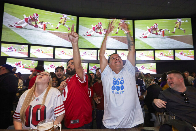 FILE - In this Feb. 2, 2020, file photo, Lazaro Real Cruz, center right, reacts as Kansas City Chiefs' Damien Williams scores a touchdown against the San Francisco 49ers during the second half of the NFL Super Bowl 54 football game while watching TV at Tom's Watch Bar LA Live in Los Angeles. Let's get this straight from the outset: If the NFL has no fans at any games this season _ or doesn't have much of a season at all _ it will not go out of business. Sure, the 32 teams and the league itself will lose millions, very possibly billions of dollars. Its broadcast partners will take a hit harder than any that Von Miller has delivered on the field. Same for sponsors and advertisers who pinpoint pro football as the best way to reach fans (read: consumers). (AP Photo/Damian Dovarganes, File)