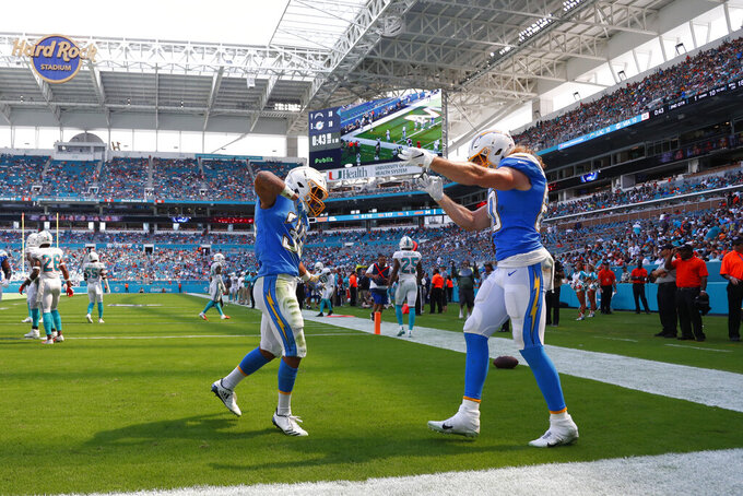 Los Angeles Chargers running back Austin Ekeler (30) and tight end Sean Culkin (80) celebrate after Ekeler scored a touchdown, during the first half at an NFL football game against the Miami Dolphins, Sunday, Sept. 29, 2019, in Miami Gardens, Fla. (AP Photo/Wilfredo Lee)