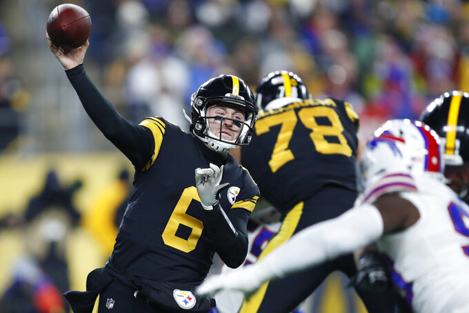 Pittsburgh Steelers quarterback Devlin Hodges (6) throws a pass during the first half of an NFL football game against the Buffalo Bills in Pittsburgh, Sunday, Dec. 15, 2019. (AP Photo/Keith Srakocic)